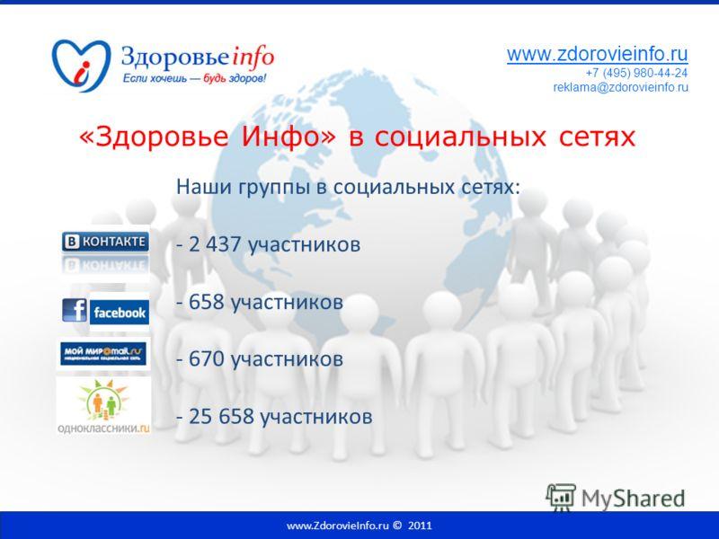 «Здоровье Инфо» в социальных сетях Наши группы в социальных сетях: - 2 437 участников - 658 участников - 670 участников - 25 658 участников www.ZdorovieInfo.ru © 2011 www.zdorovieinfo.ru +7 (495) 980-44-24 reklama@zdorovieinfo.ru
