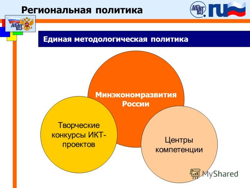 Региональная политика Единая методологическая политика Минэкономразвития России Творческие конкурсы ИКТ- проектов Центры компетенции