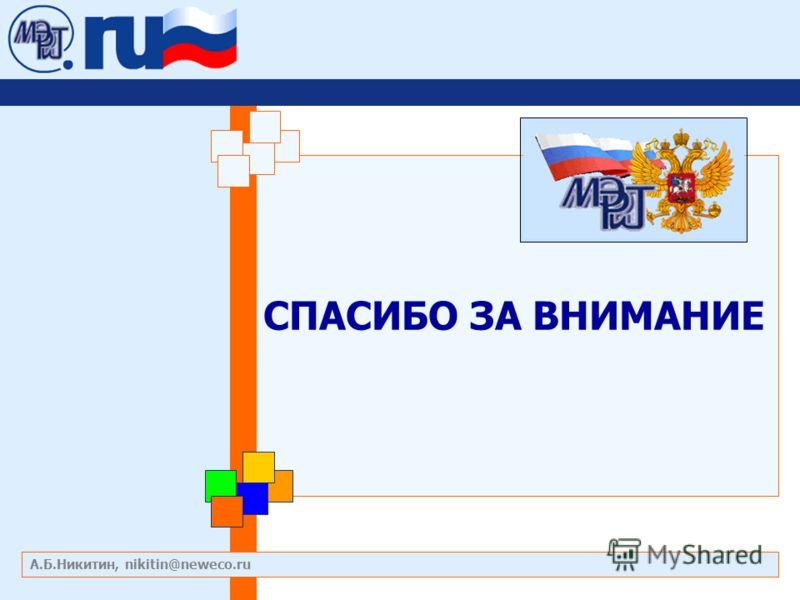 СПАСИБО ЗА ВНИМАНИЕ А.Б.Никитин, nikitin@neweco.ru