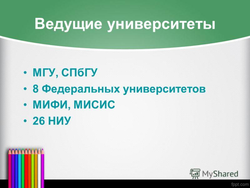 Ведущие университеты МГУ, СПбГУ 8 Федеральных университетов МИФИ, МИСИС 26 НИУ