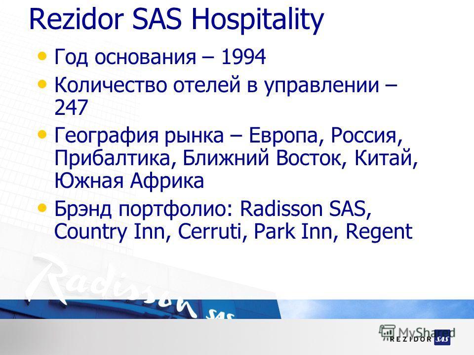 Rezidor SAS Hospitality Год основания – 1994 Количество отелей в управлении – 247 География рынка – Европа, Россия, Прибалтика, Ближний Восток, Китай, Южная Африка Брэнд портфолио: Radisson SAS, Country Inn, Cerruti, Park Inn, Regent