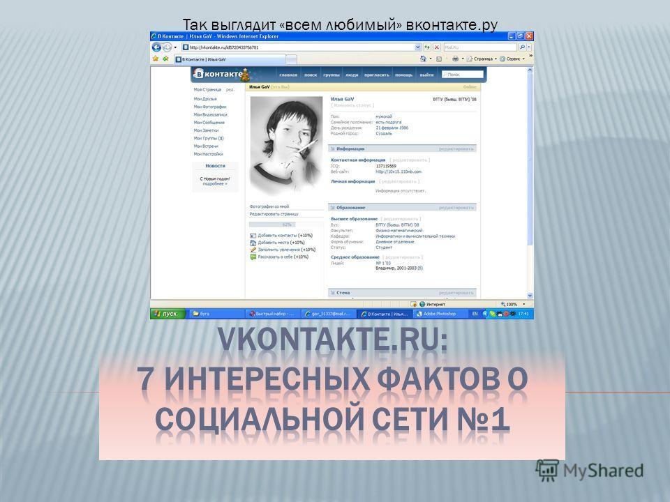 Так выглядит «всем любимый» вконтакте.ру