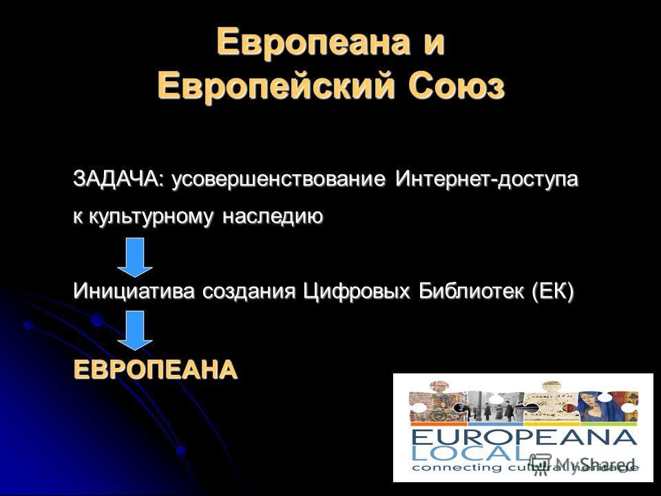 Европеана и Европейский Союз ЗАДАЧА: усовершенствование Интернет-доступа к культурному наследию Инициатива создания Цифровых Библиотек (ЕК) ЕВРОПЕАНА