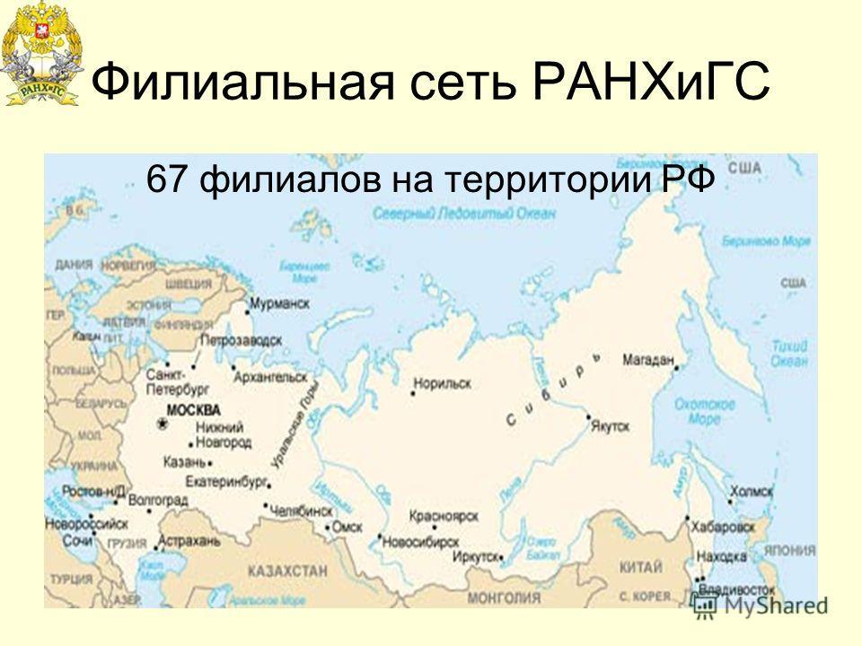 Филиальная сеть РАНХиГС 67 филиалов на территории РФ