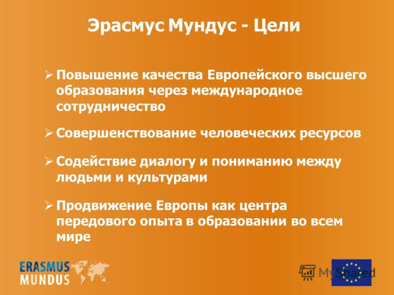 Эрасмус Мундус - Цели Повышение качества Европейского высшего образования через международное сотрудничество Совершенствование человеческих ресурсов Содействие диалогу и пониманию между людьми и культурами Продвижение Европы как центра передового опы