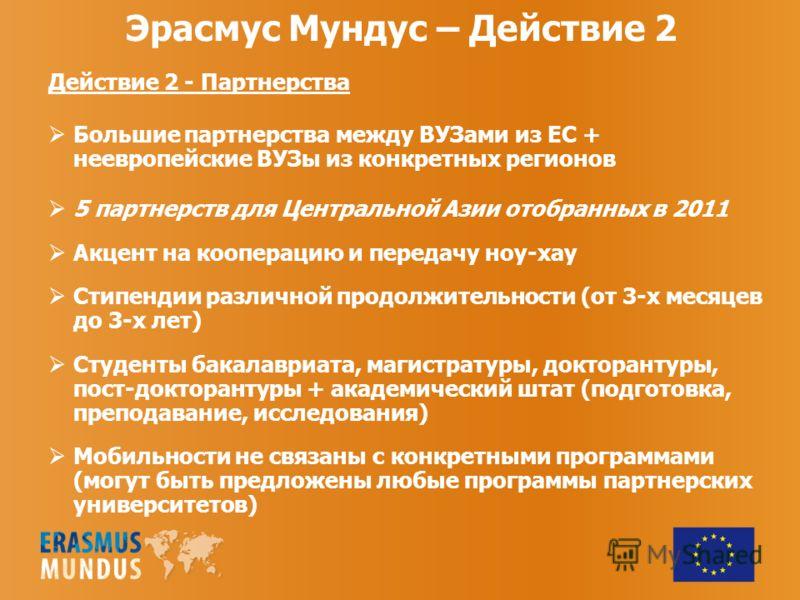 Эрасмус Мундус – Действие 2 Действие 2 - Партнерства Большие партнерства между ВУЗами из ЕС + неевропейские ВУЗы из конкретных регионов 5 партнерств для Центральной Азии отобранных в 2011 Акцент на кооперацию и передачу ноу-хау Стипендии различной пр