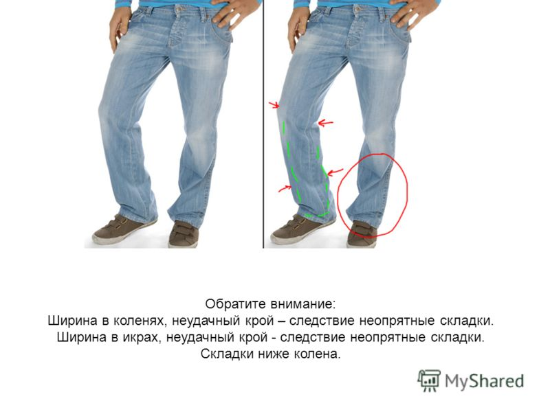 Обратите внимание: Ширина в коленях, неудачный крой – следствие неопрятные складки. Ширина в икрах, неудачный крой - следствие неопрятные складки. Складки ниже колена.