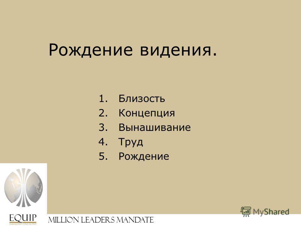 Million Leaders Mandate Рождение видения. 1.Близость 2.Концепция 3.Вынашивание 4.Труд 5.Рождение