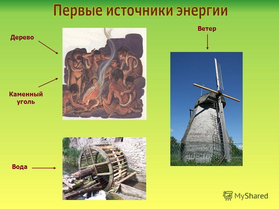 Дерево Каменный уголь Ветер Вода
