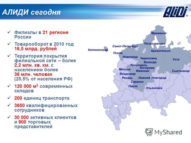 АЛИДИ сегодня Филиалы в 21 регионе России Товарооборот в 2010 год 16,5 млрд. рублей Территория покрытия филиальной сети – более 2,2 млн. кв. км. с населением более 36 млн. человек (25,5% от населения РФ) 120 000 м 2 современных складов 200 единиц тра