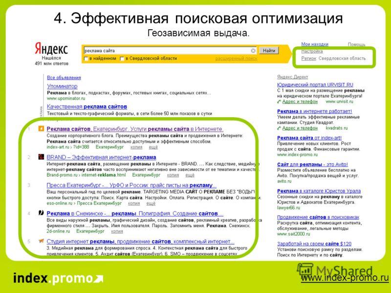 www.index-promo.ru 4. Эффективная поисковая оптимизация Геозависимая выдача.