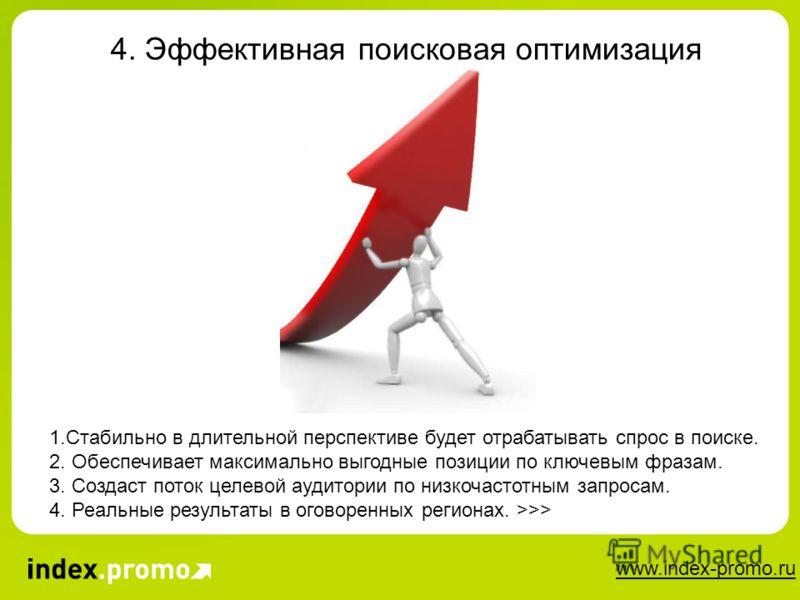 www.index-promo.ru 4. Эффективная поисковая оптимизация 1.Стабильно в длительной перспективе будет отрабатывать спрос в поиске. 2. Обеспечивает максимально выгодные позиции по ключевым фразам. 3. Создаст поток целевой аудитории по низкочастотным запр