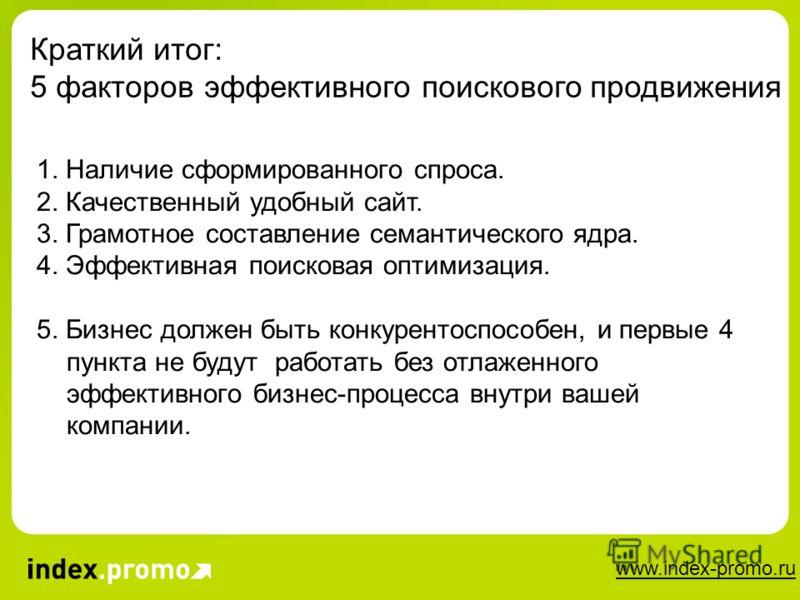 www.index-promo.ru Краткий итог: 5 факторов эффективного поискового продвижения 1. Наличие сформированного спроса. 2. Качественный удобный сайт. 3. Грамотное составление семантического ядра. 4. Эффективная поисковая оптимизация. 5. Бизнес должен быть