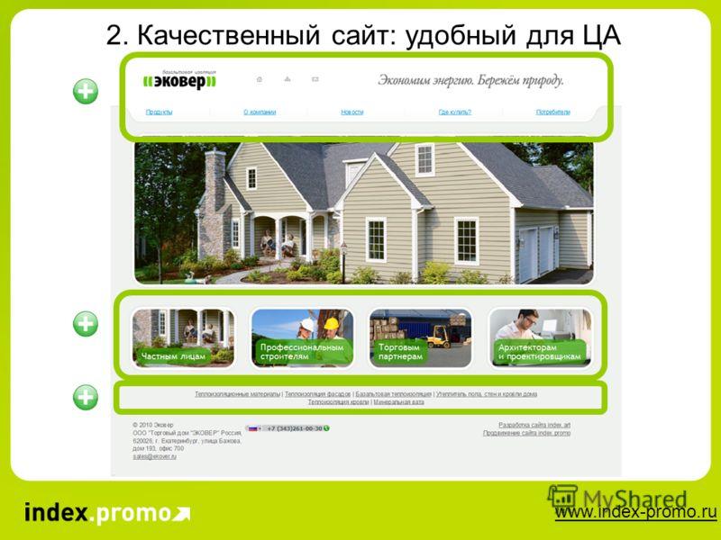 www.index-promo.ru 2. Качественный сайт: удобный для ЦА