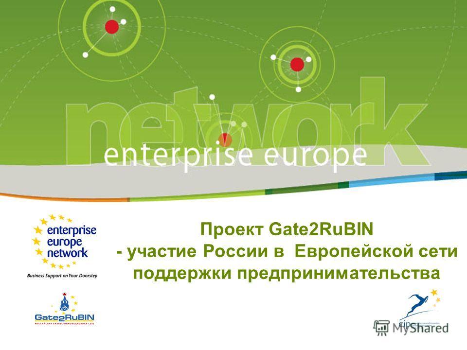 1 Проект Gate2RuBIN - участие России в Европейской сети поддержки предпринимательства