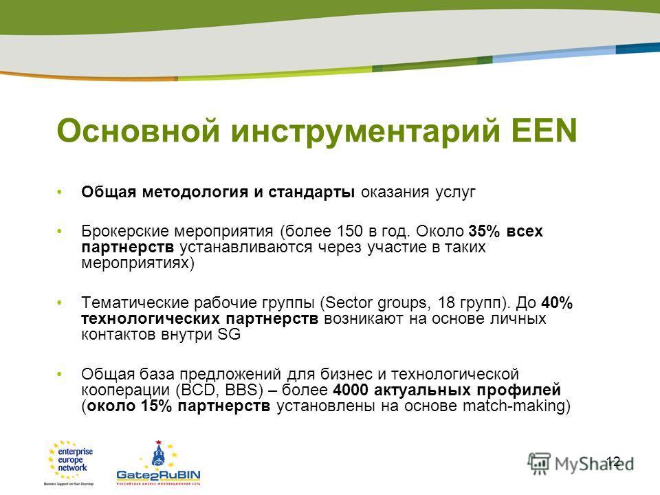 12 Основной инструментарий EEN Общая методология и стандарты оказания услуг Брокерские мероприятия (более 150 в год. Около 35% всех партнерств устанавливаются через участие в таких мероприятиях) Тематические рабочие группы (Sector groups, 18 групп).
