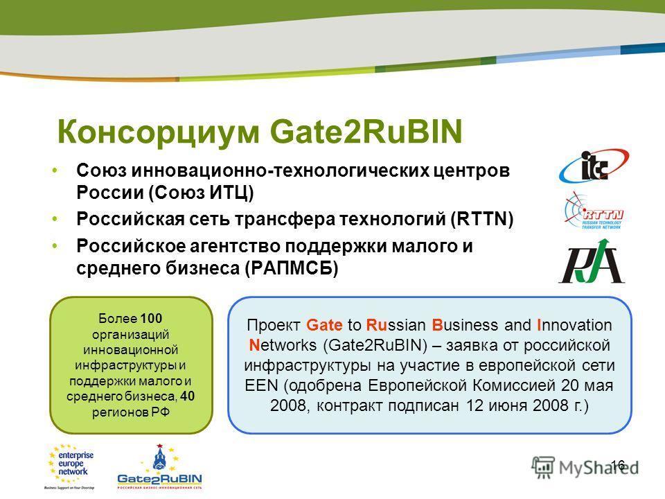 16 Консорциум Gate2RuBIN Союз инновационно-технологических центров России (Союз ИТЦ) Российская сеть трансфера технологий (RTTN) Российское агентство поддержки малого и среднего бизнеса (РАПМСБ) Более 100 организаций инновационной инфраструктуры и по