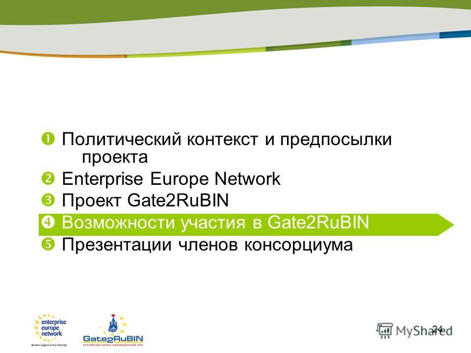 24 Политический контекст и предпосылки проекта Enterprise Europe Network Проект Gate2RuBIN Возможности участия в Gate2RuBIN Презентации членов консорциума Презентация регионального центра (опция)