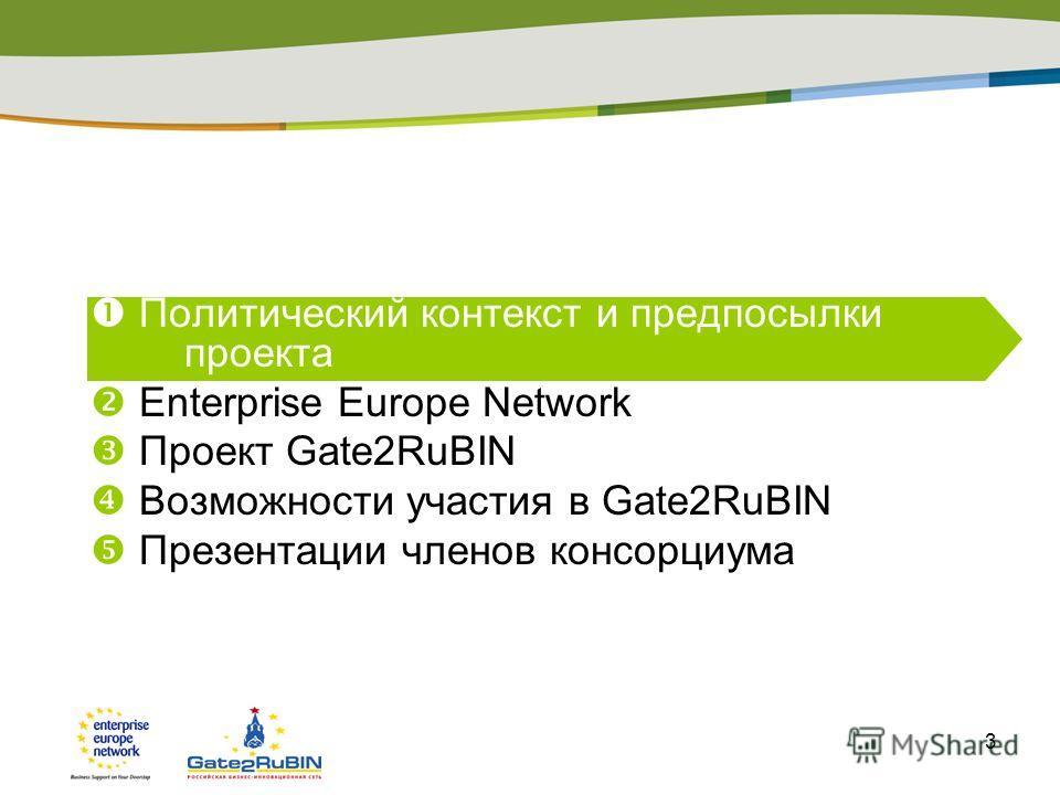 3 Политический контекст и предпосылки проекта Enterprise Europe Network Проект Gate2RuBIN Возможности участия в Gate2RuBIN Презентации членов консорциума