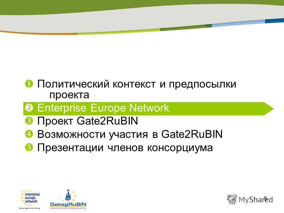 9 Политический контекст и предпосылки проекта Enterprise Europe Network Проект Gate2RuBIN Возможности участия в Gate2RuBIN Презентации членов консорциума Презентация регионального центра (опция)