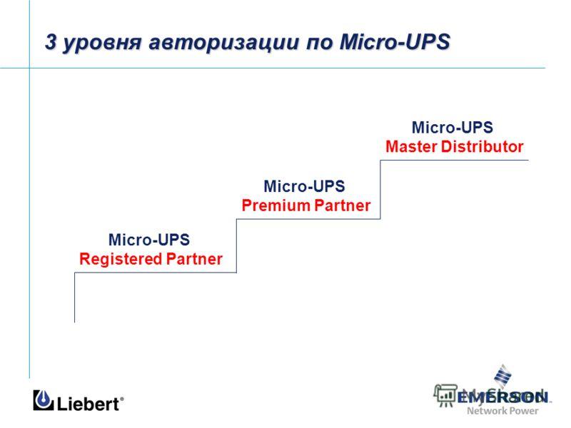 3 уровня авторизации по Micro-UPS Micro-UPS Master Distributor Micro-UPS Premium Partner Micro-UPS Registered Partner