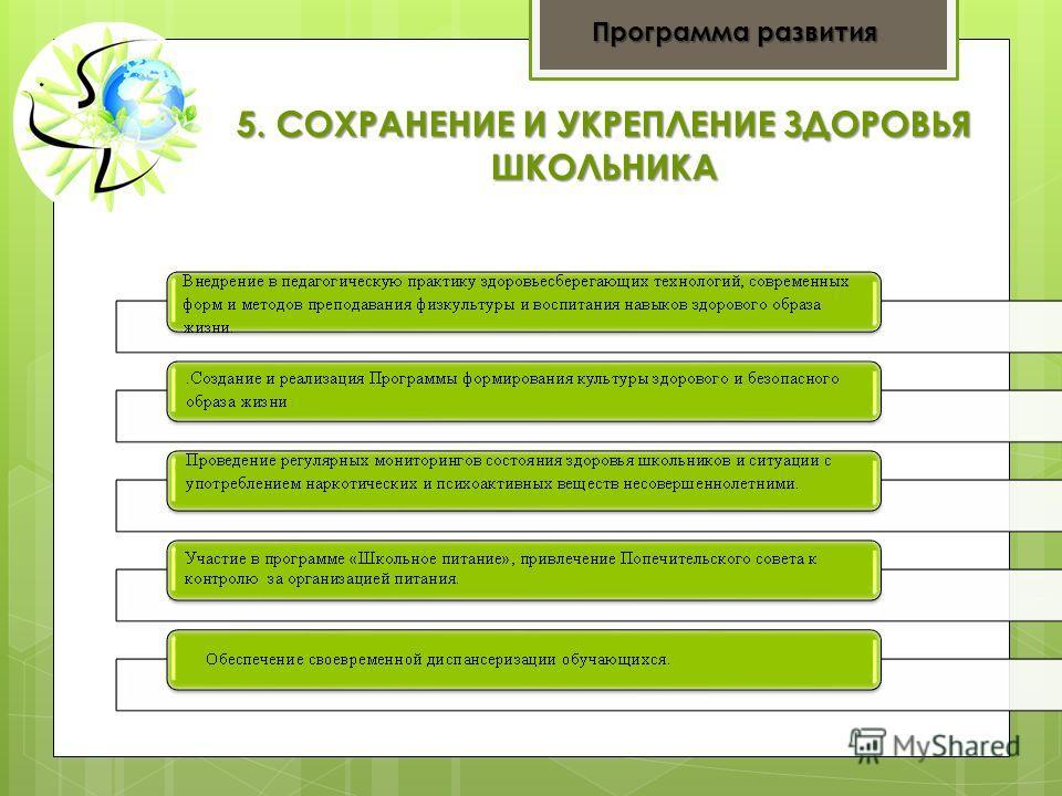 5. СОХРАНЕНИЕ И УКРЕПЛЕНИЕ ЗДОРОВЬЯ ШКОЛЬНИКА Программа развития