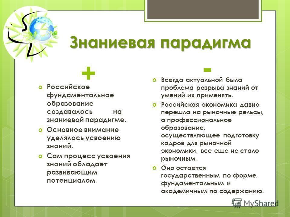 Знаниевая парадигма + Российское фундаментальное образование создавалось на знаниевой парадигме. Основное внимание уделялось усвоению знаний. Сам процесс усвоения знаний обладает развивающим потенциалом. - Всегда актуальной была проблема разрыва знан