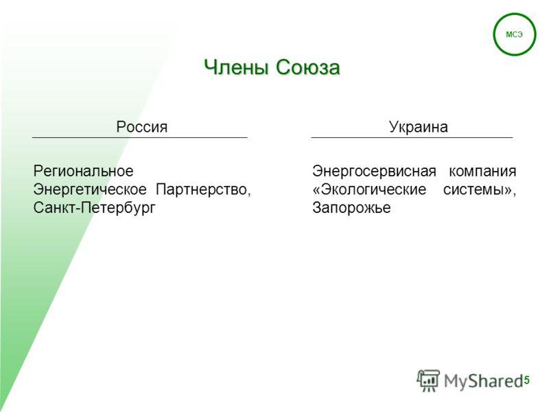 МСЭ 5 Члены Союза Россия Региональное Энергетическое Партнерство, Санкт-Петербург Украина Энергосервисная компания «Экологические системы», Запорожье