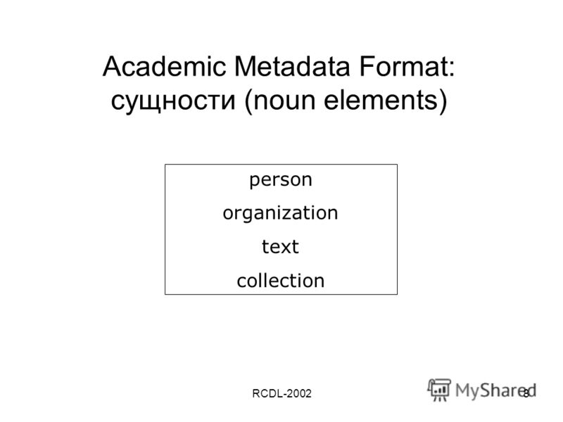 RCDL-20028 Academic Metadata Format: сущности (noun elements) person organization text collection