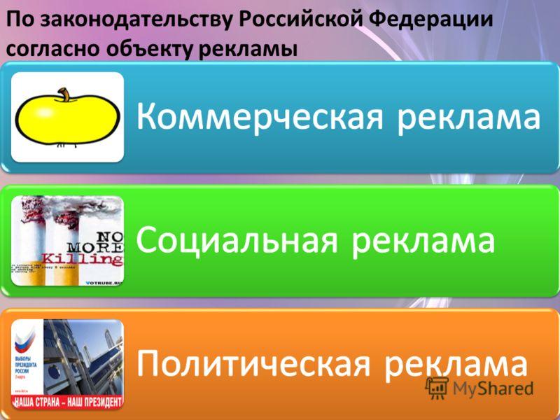 По законодательству Российской Федерации согласно объекту рекламы