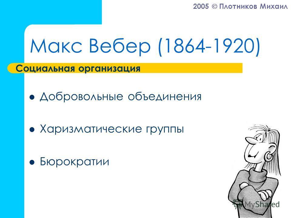 2005 Плотников Михаил Макс Вебер (1864-1920) Добровольные объединения Харизматические группы Бюрократии Социальная организация