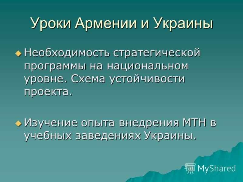 Уроки Армении и Украины Необходимость стратегической программы на национальном уровне. Схема устойчивости проекта. Необходимость стратегической программы на национальном уровне. Схема устойчивости проекта. Изучение опыта внедрения МТН в учебных завед