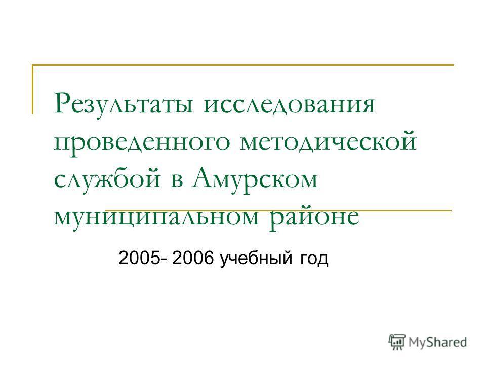 Результаты исследования проведенного методической службой в Амурском муниципальном районе 2005- 2006 учебный год
