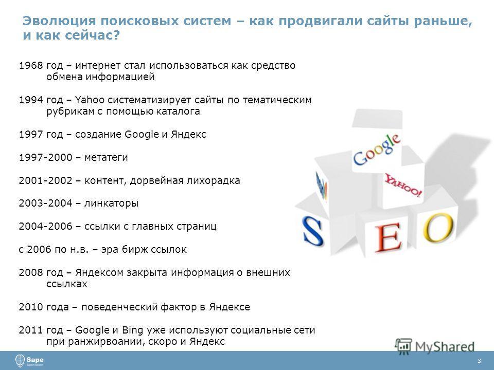 3 1968 год – интернет стал использоваться как средство обмена информацией 1994 год – Yahoo систематизирует сайты по тематическим рубрикам с помощью каталога 1997 год – создание Google и Яндекс 1997-2000 – метатеги 2001-2002 – контент, дорвейная лихор