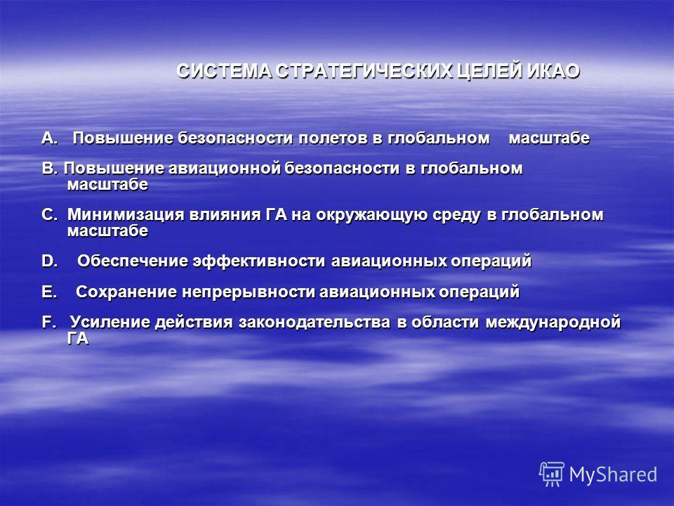 СИСТЕМА СТРАТЕГИЧЕСКИХ ЦЕЛЕЙ ИКАО A. Повышение безопасности полетов в глобальном масштабе B. Повышение авиационной безопасности в глобальном масштабе C. Минимизация влияния ГА на окружающую среду в глобальном масштабе D. Обеспечение эффективности ави