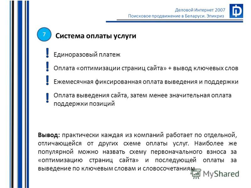Деловой Интернет 2007 Поисковое продвижение в Беларуси. Эпикриз Система оплаты услуги Единоразовый платеж Оплата «оптимизации страниц сайта» + вывод ключевых слов Ежемесячная фиксированная оплата выведения и поддержки Оплата выведения сайта, затем ме
