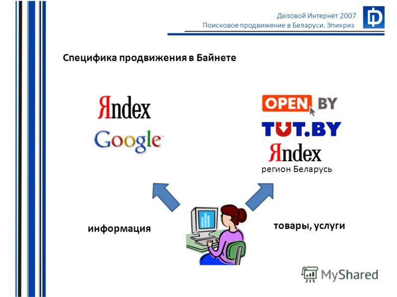 Деловой Интернет 2007 Поисковое продвижение в Беларуси. Эпикриз Специфика продвижения в Байнете товары, услуги информация регион Беларусь
