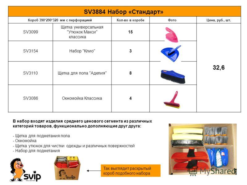 В набор входят изделия среднего ценового сегмента из различных категорий товаров, функционально дополняющие друг друга: - Щетка для подметания пола - Окномойка - Щетка утюжок для чистки одежды и различных поверхностей - Набор для подметания SV3884 На