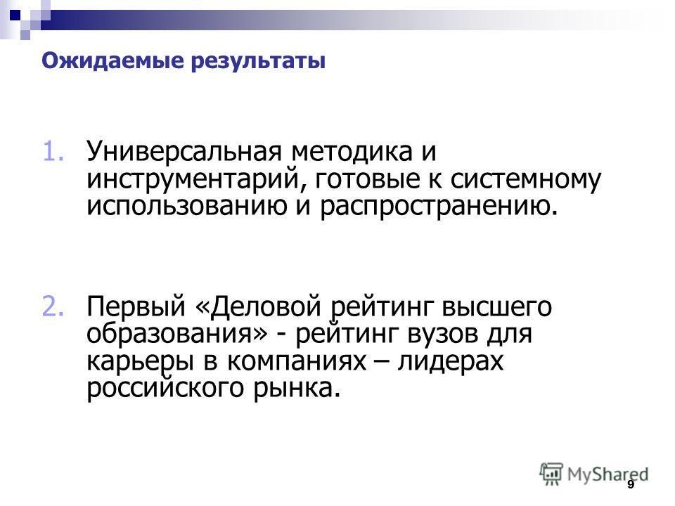 9 Ожидаемые результаты 1.Универсальная методика и инструментарий, готовые к системному использованию и распространению. 2.Первый «Деловой рейтинг высшего образования» - рейтинг вузов для карьеры в компаниях – лидерах российского рынка.