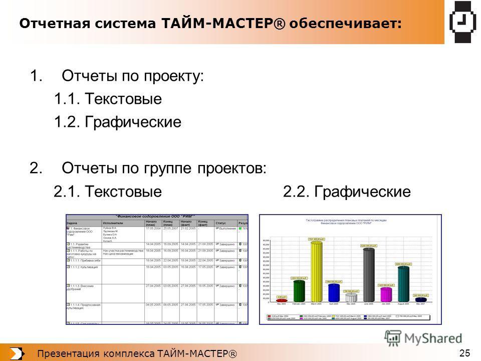 Презентация комплекса ТАЙМ-МАСТЕР® 25 Отчетная система ТАЙМ-МАСТЕР® обеспечивает: 1.Отчеты по проекту: 1.1. Текстовые 1.2. Графические 2.Отчеты по группе проектов: 2.1. Текстовые 2.2. Графические