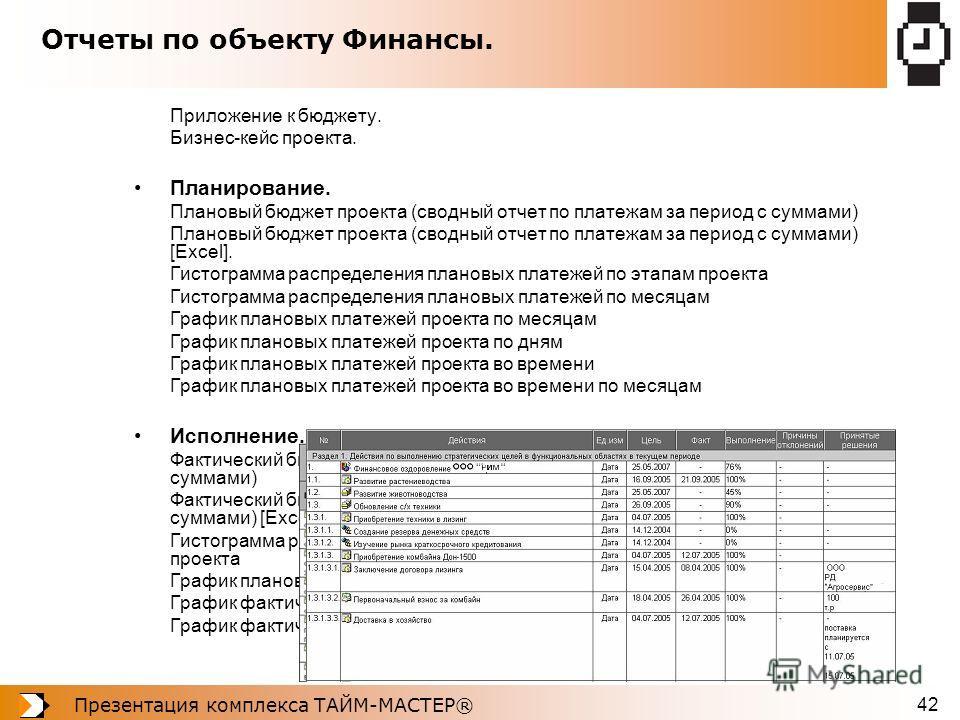 Презентация комплекса ТАЙМ-МАСТЕР® 42 Отчеты по объекту Финансы. Приложение к бюджету. Бизнес-кейс проекта. Планирование. Плановый бюджет проекта (сводный отчет по платежам за период с суммами) Плановый бюджет проекта (сводный отчет по платежам за пе