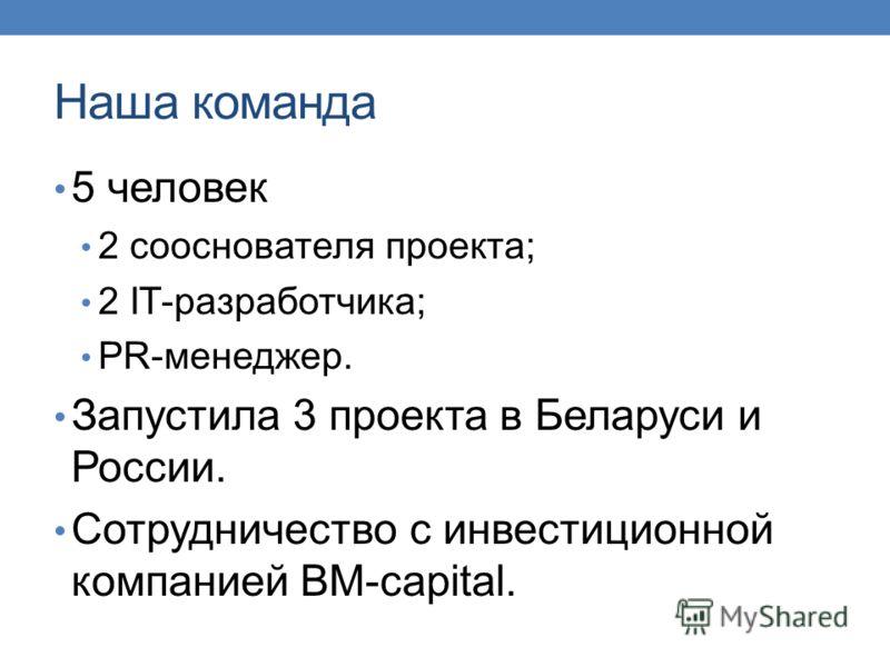 Наша команда 5 человек 2 сооснователя проекта; 2 IT-разработчика; PR-менеджер. Запустила 3 проекта в Беларуси и России. Сотрудничество с инвестиционной компанией BM-capital.