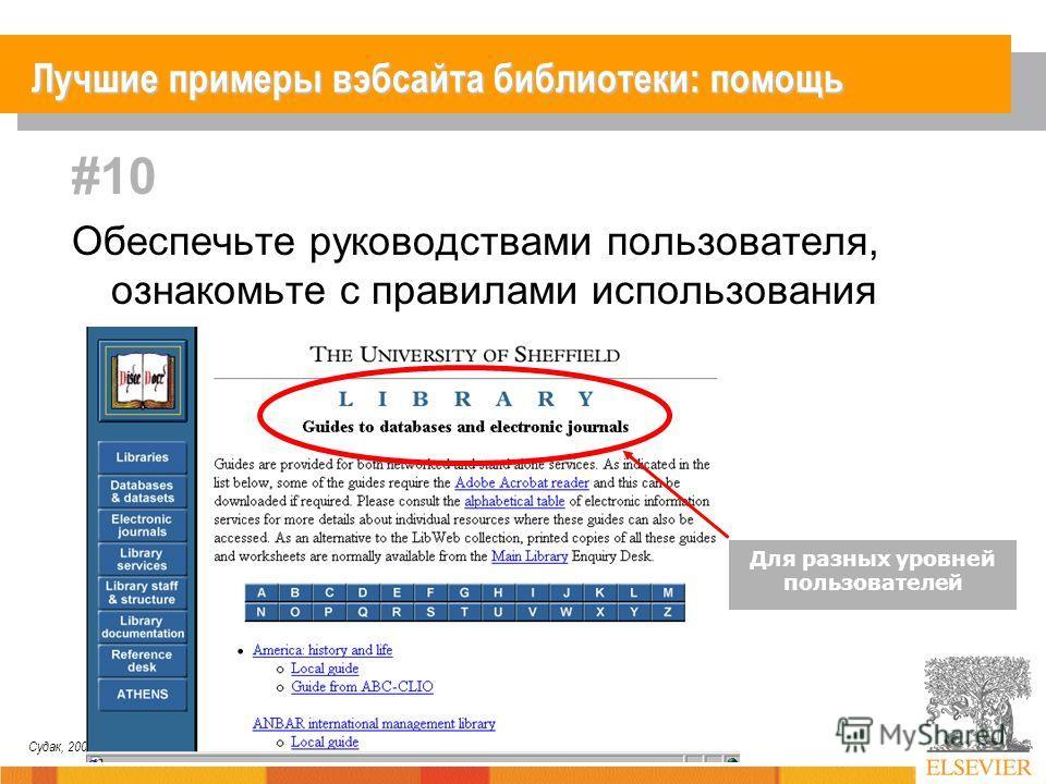 Судак, 2007 #10 Обеспечьте руководствами пользователя, ознакомьте с правилами использования ресурсов Для разных уровней пользователей Лучшие примеры вэбсайта библиотеки: помощь