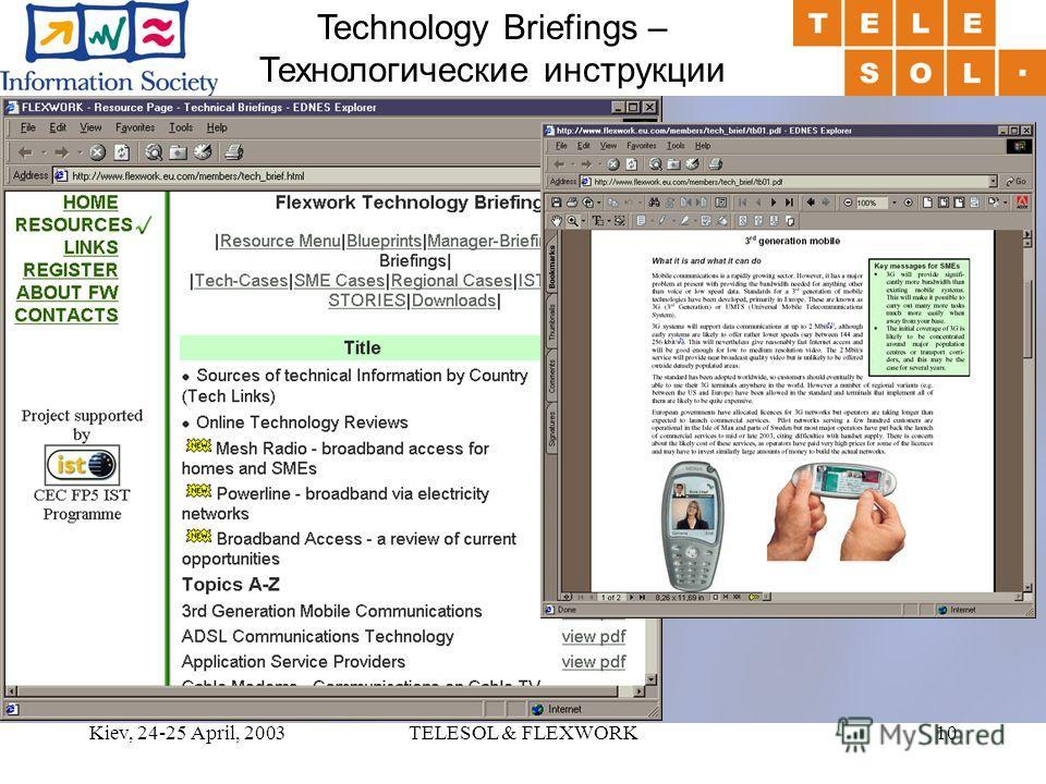 Kiev, 24-25 April, 2003TELESOL & FLEXWORK10 Technology Briefings – Технологические инструкции