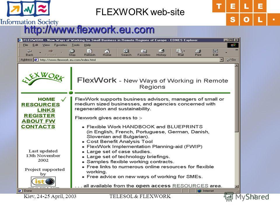 Kiev, 24-25 April, 2003TELESOL & FLEXWORK3 FLEXWORK web-site http://www.flexwork.eu.com