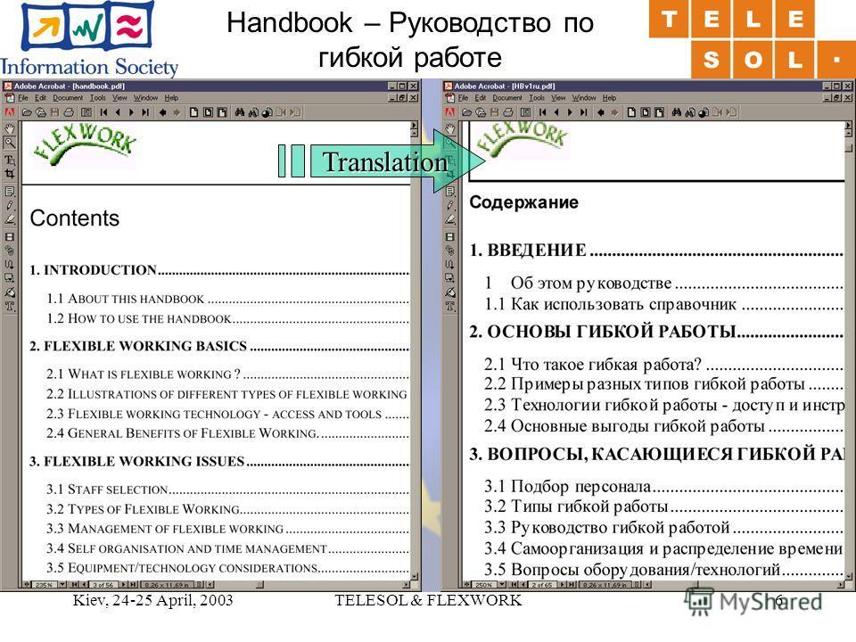 Kiev, 24-25 April, 2003TELESOL & FLEXWORK6 Handbook – Руководство по гибкой работеTranslation