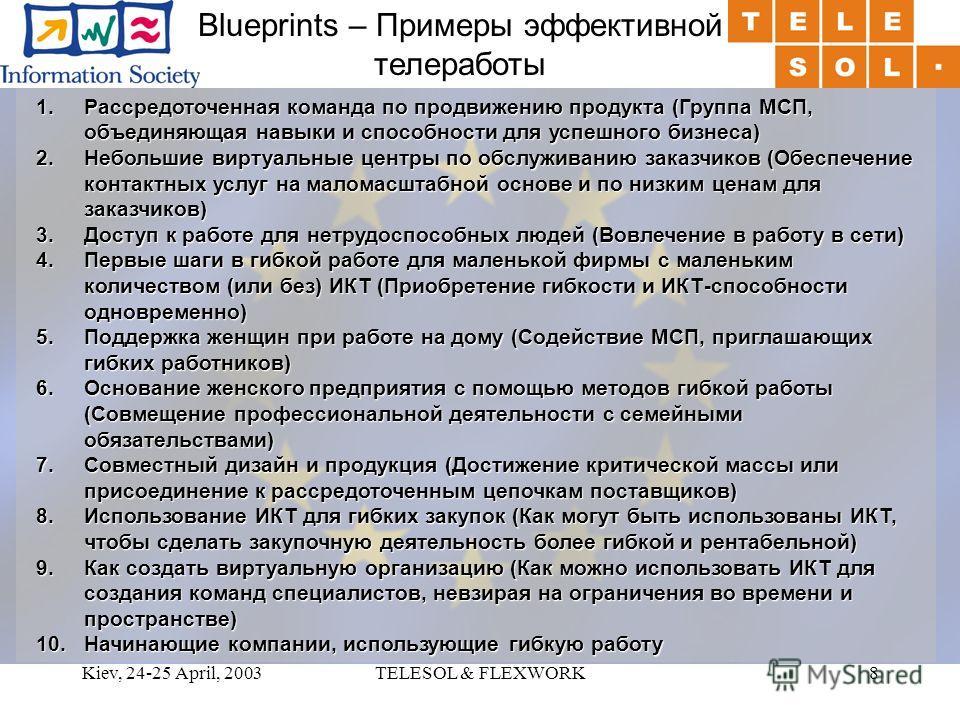 Kiev, 24-25 April, 2003TELESOL & FLEXWORK8 Blueprints – Примеры эффективной телеработы 1.Рассредоточенная команда по продвижению продукта (Группа МСП, объединяющая навыки и способности для успешного бизнеса) 2.Небольшие виртуальные центры по обслужив
