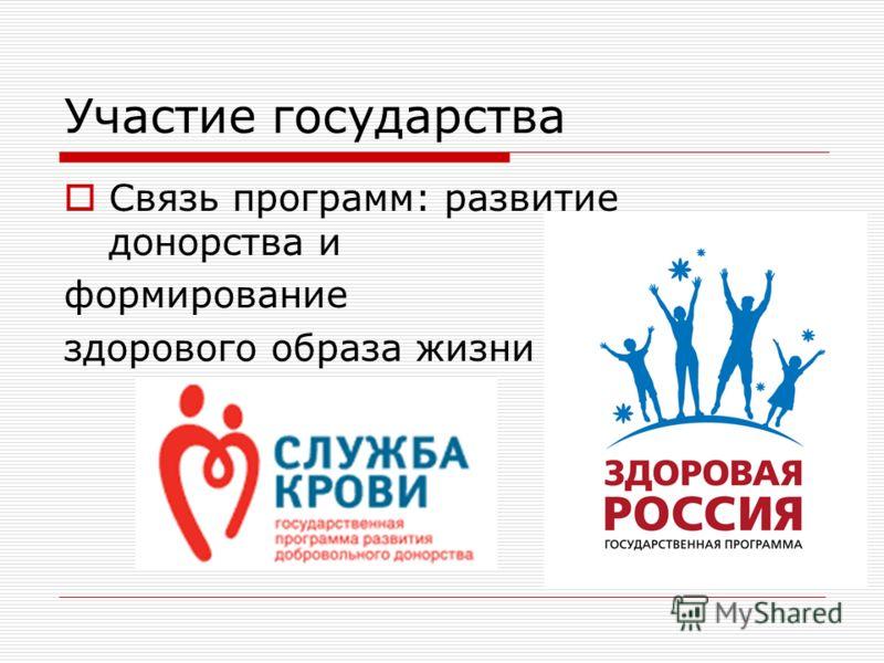 Участие государства Связь программ: развитие донорства и формирование здорового образа жизни