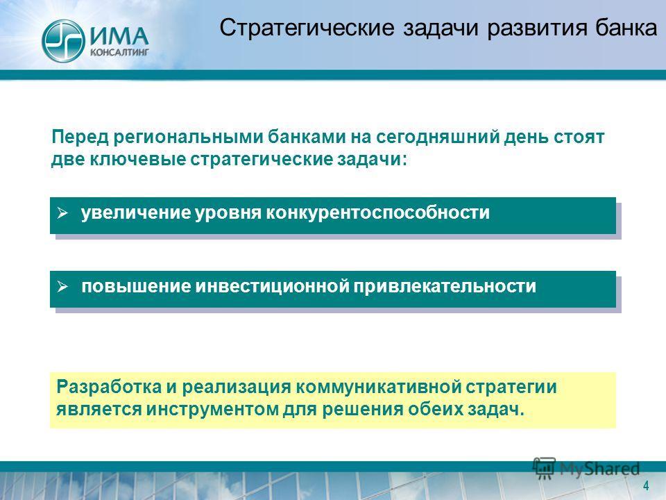 4 Стратегические задачи развития банка Перед региональными банками на сегодняшний день стоят две ключевые стратегические задачи: увеличение уровня конкурентоспособности повышение инвестиционной привлекательности Разработка и реализация коммуникативно
