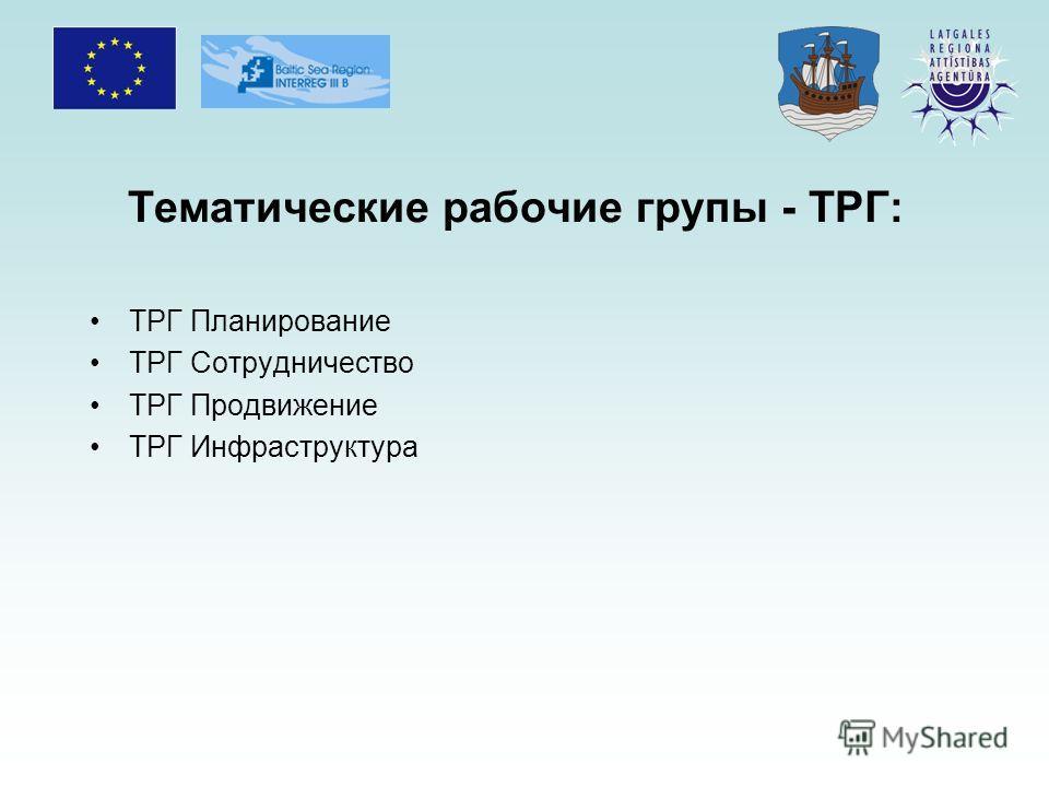 Тематические рабочие групы - TРГ: TРГ Планирование TРГ Сотрудничество TРГ Продвижение TРГ Инфраструктура